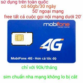 Free 2 THÁNG ĐẦU sim mobi c90 60gb/tháng