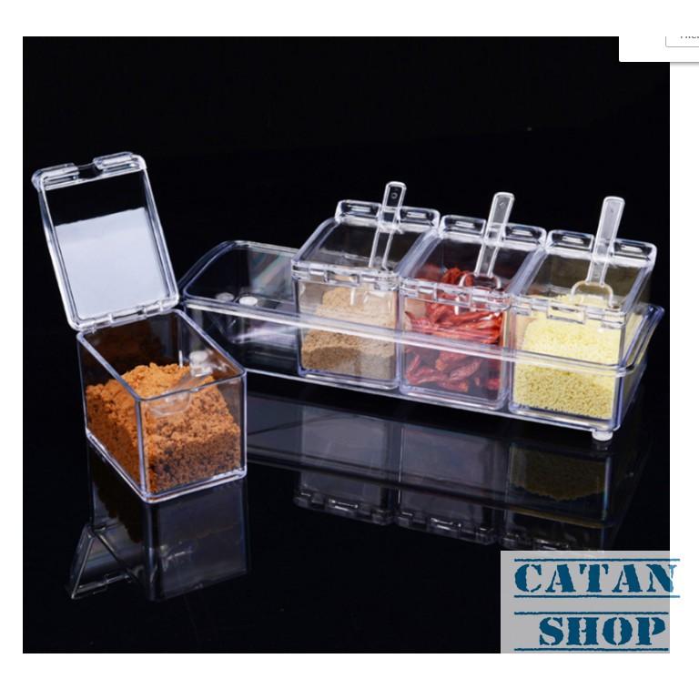 Khay, kệ đựng gia vị 4 ngăn trong suốt, tiện dụng, an toàn, đồ dùng nhà bếp GD87-KGVN-Trong