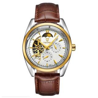 Đồng hồ nam Tevise 795A máy cơ dây da chạy full kim (Mặt trắng viền vàng) thumbnail