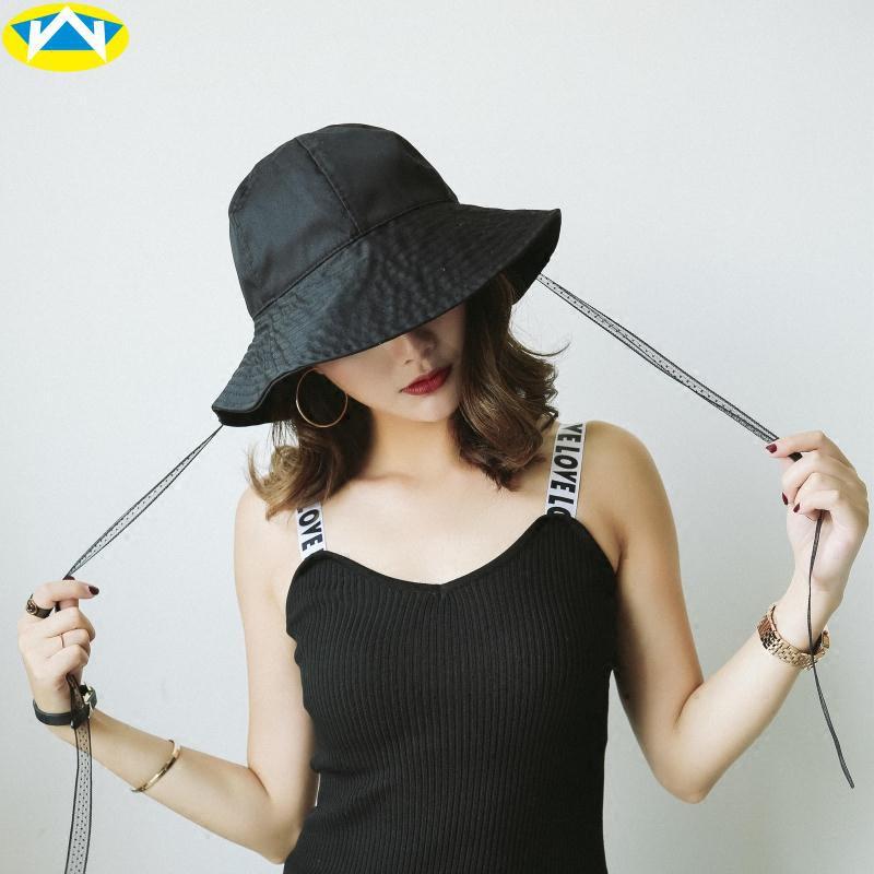ญี่ปุ่นขนาดใหญ่檐หมวกชาวประมงริบบิ้นฤดูใบไม้ผลิฝ้ายหญิงและบังแดดฤดูร้อนเงาเรียบง่ายพับหมวกอ่างเกาหลี