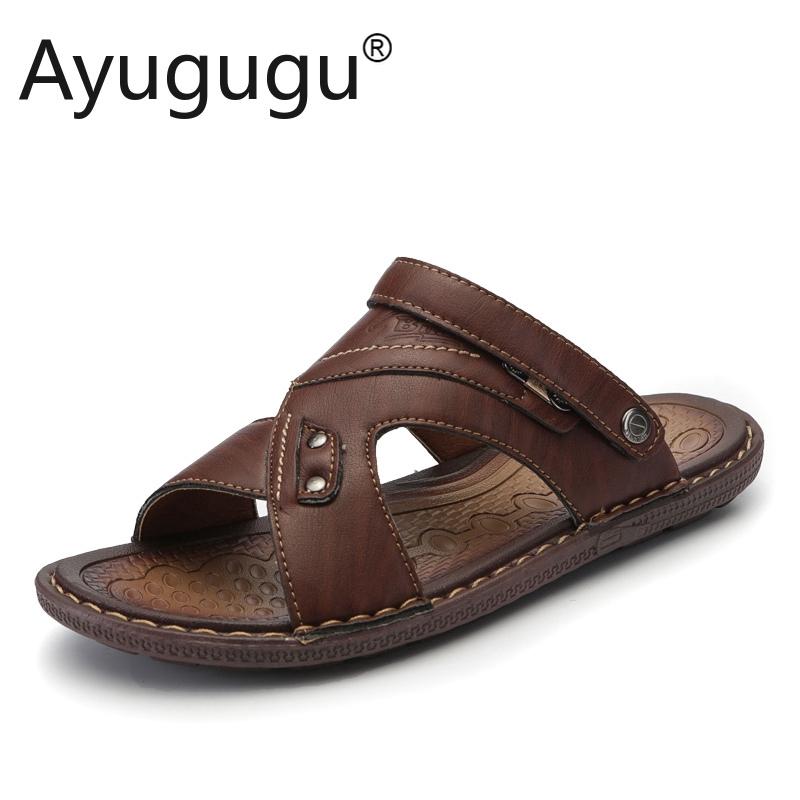 Dép da cho nam thoáng khí Giày bãi biển Nữ giày casual giày ngoài trời mùa hè trượt dép cho nam giới