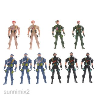 10pcs Plastic Special Force Action Figures 9cm Army Men Soldier Playset