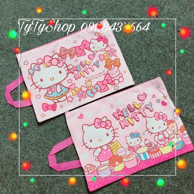 Túi vải dệt kim A4 Hello Kitty