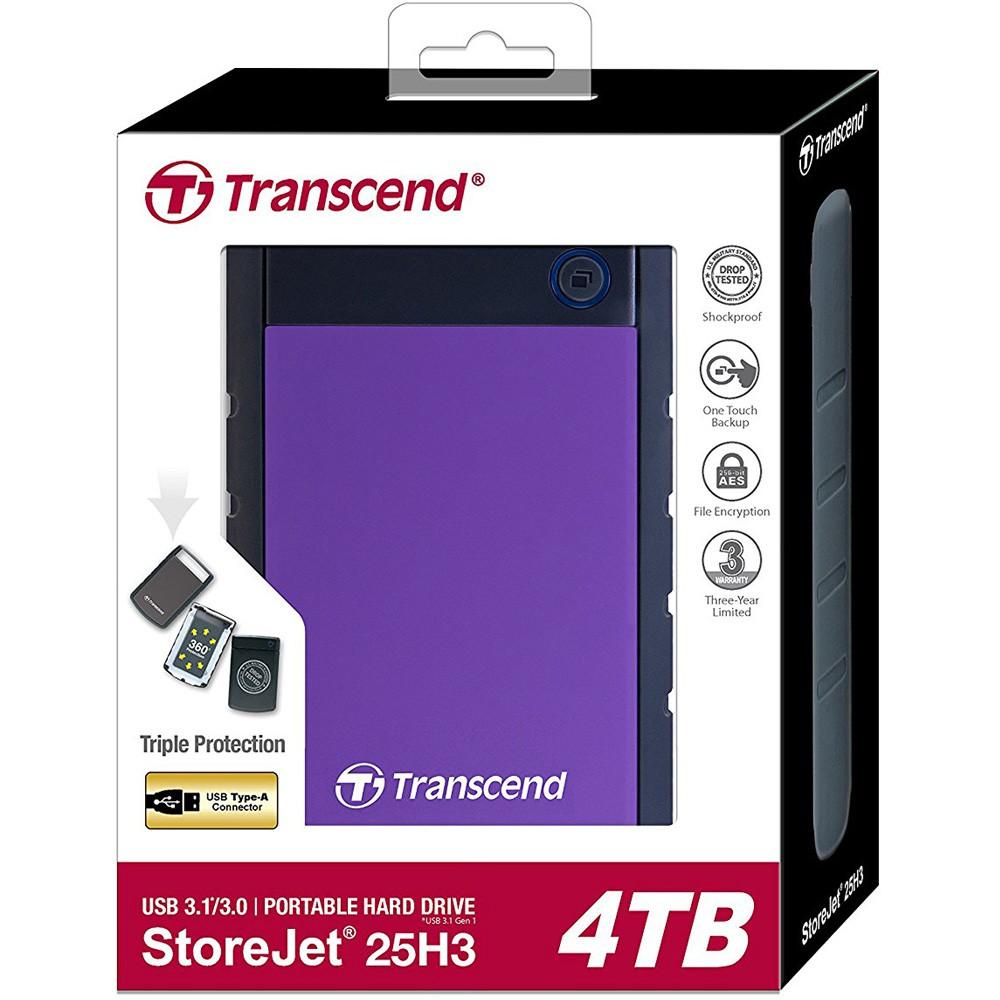 [Mã 267ELSALE1 giảm 5% đơn 3TR] Ổ cứng di động Transcend StoreJet 25H3 2.5 4TB TS4TSJ25H3P - Bảo hành 2 năm