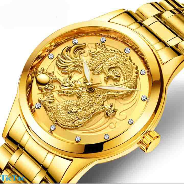 Đồng hồ nam mặt rồng vàng TẶNG vòng tay tùy hưu may mắn full hộp