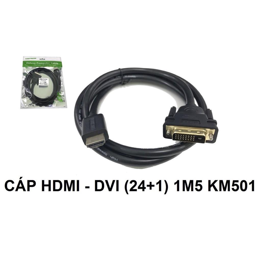 Cáp HDMI to DVI 24 +1 KINGMASTER 1.5M/ 3M/ 5M (Loại Tốt) - Hàng Chính Hãng