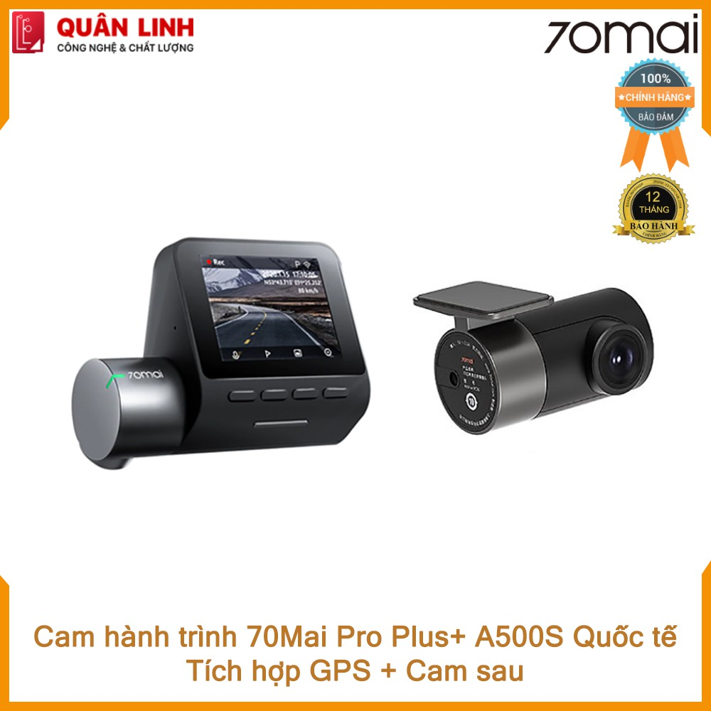 Camera hành trình 70mai Dash Cam Pro Plus+ A500S Quốc tế. Tích hợp sẵn GPS + cam sau - Bảo hành 12 tháng