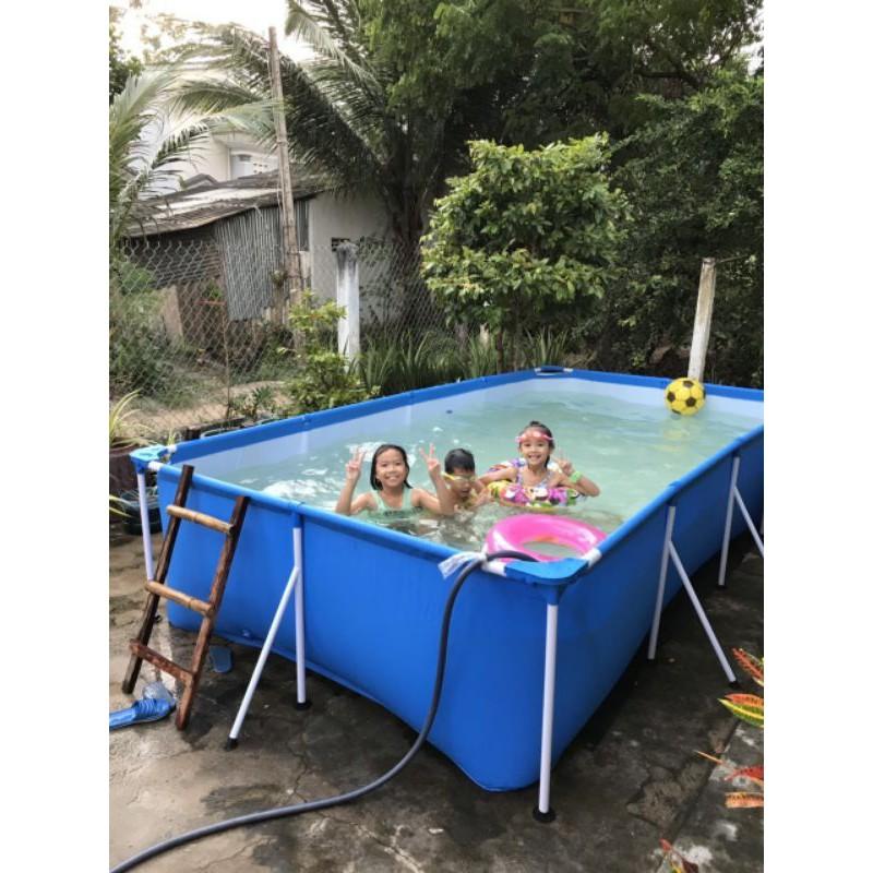Bể bơi lắp ghép 4mx2.11m tặng kính,phao