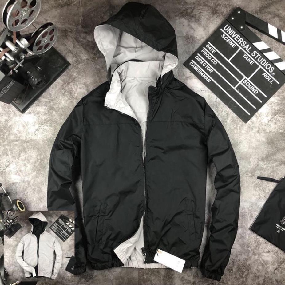 Áo khoác gió nam 2 mặt có mũ chống nước,che nắng, mưa, mũ giấu được vào cổ áo