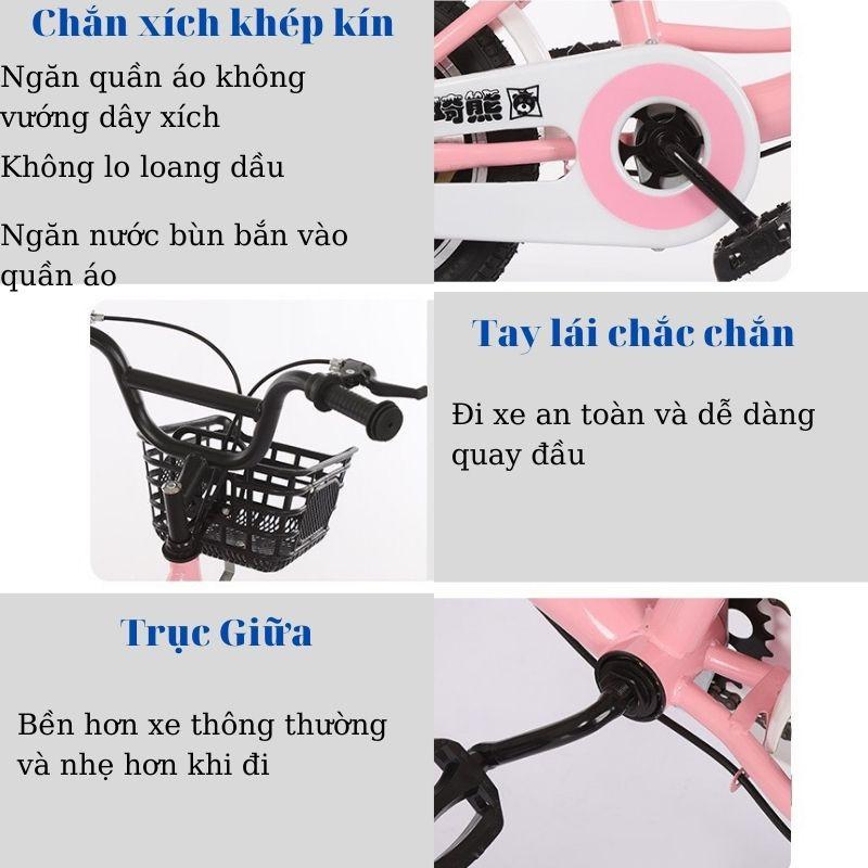 Xe đạp trẻ em, xe đạp bé gái Kaqixiong bé gái duyên dáng và nữ tính hơn size 18 cho bé từ 6-8t