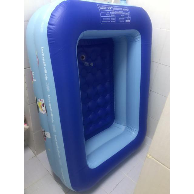 [Tặng keo vá bể] Bể bơi phao 2 tầng hình chữ nhật Size 120x95x35 cho bé - Hồ bơi cho...