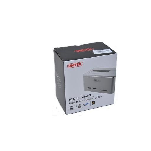 Docking ổ cứng đa năng Unitek Y1092 usb 3.0 hợp kim nhôm ổ cứng HDD 2.5 3.5 inch Hub 2 cổng USB 3.0 + đọc thẻ nhớ SD
