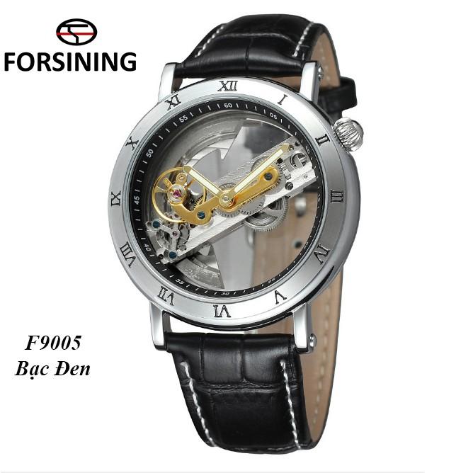 Đồng hồ cơ nam lộ máy Forsining F9005 2 kim máy trong suốt