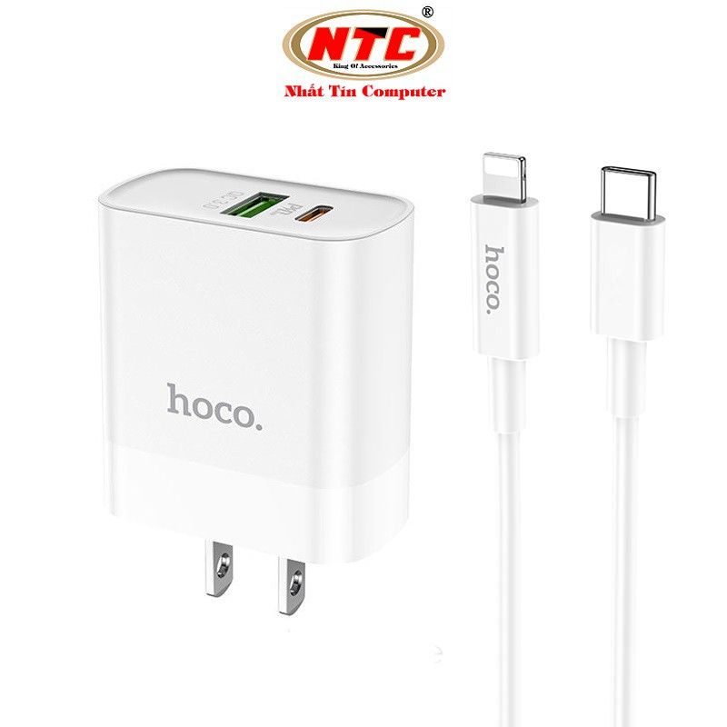 Bộ Cốc sạc 2 cổng USB và PD kèm Cáp sạc Type-C to Lightning Hoco C80 QC3.0 và PD18W (Trắng)