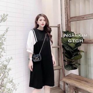 Váy đầm bầu công sở thiết kế cao cấp siêu mát mùa hè dáng xuông chữ A chất thun cotton thumbnail