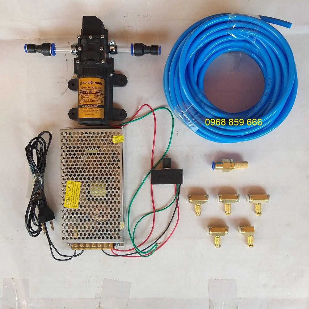 Bộ máy bơm phun sương 5 béc-có chiết áp điều chỉnh lượng nước (combo bộ phun sương 12v-5 béc-bộ có nguồn)