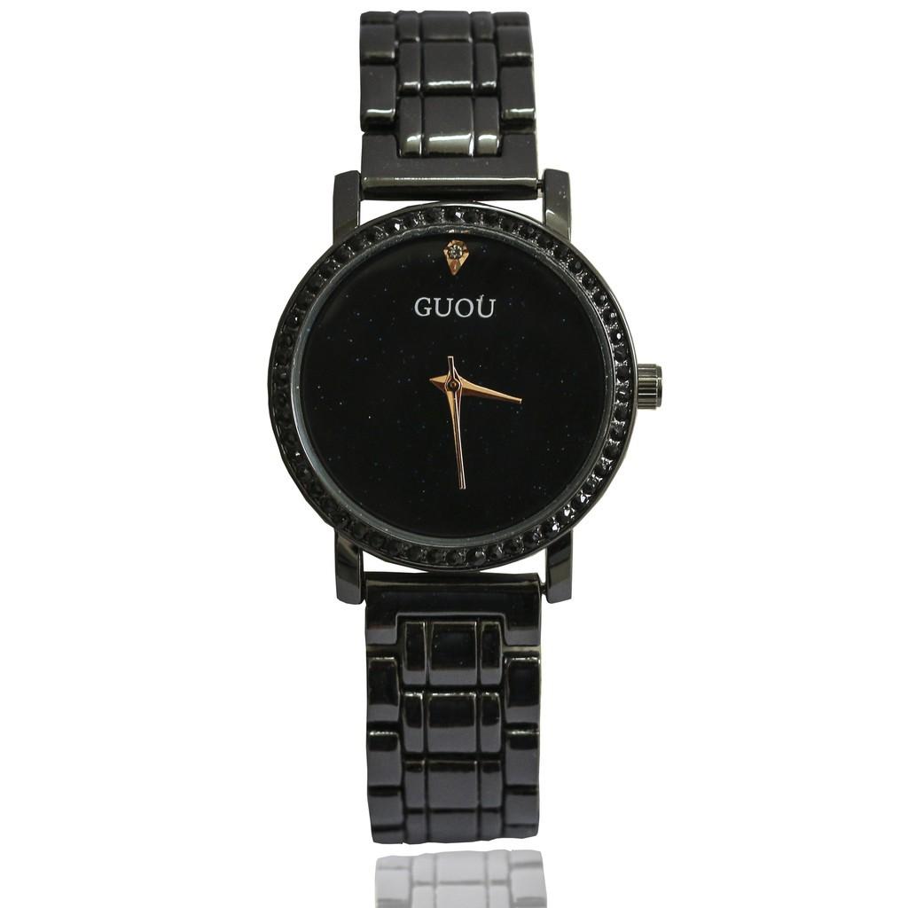 Đồng hồ nữ Guou GU871 đính đá full đen + Tặng vòng tay nữ xinh xắn