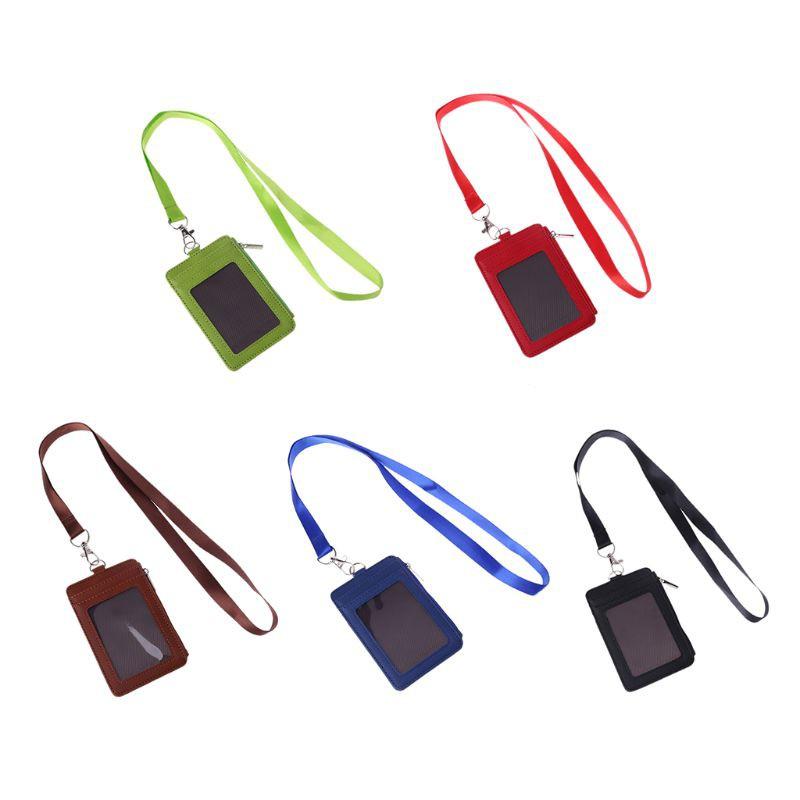 SENG♥Leather ID Badge Cards Holder Lanyard Credit Card Case Business Or