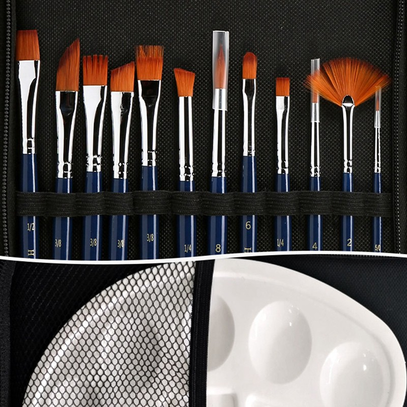 H&B 13 Pieces of Nylon Brush Acrylic Watercolor Pen Painting Wooden Handle Multifunctional Brush Art Supplies