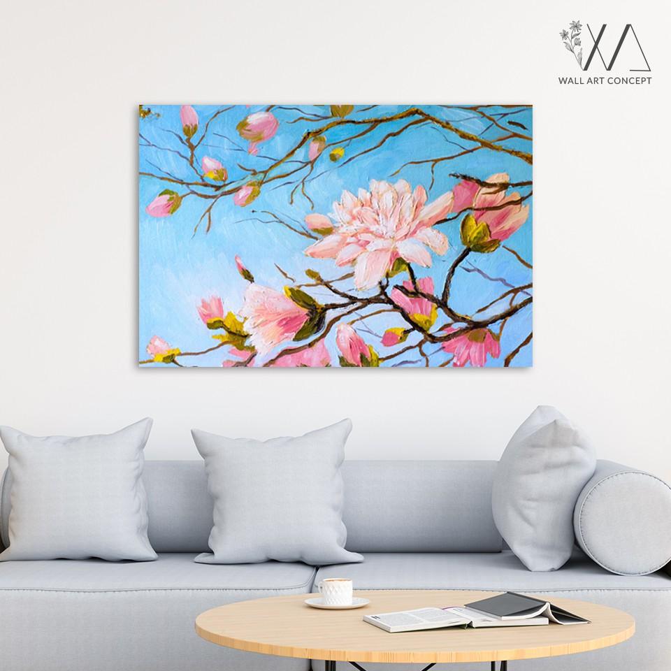 Tranh Canvas sơn Hoa Đào