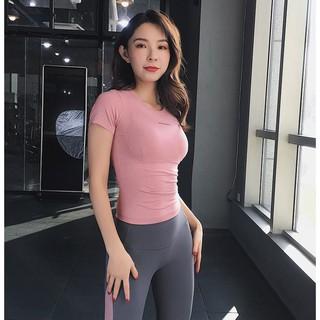 Áo tập gym cộc tay, thể thao, yoga, zumba nữ cao cấp vải dệt, co giãn tốt, chuẩn dáng (Mẫu AMI 2020) thumbnail