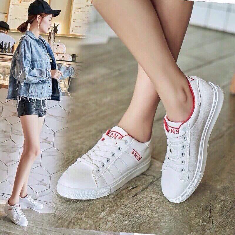Giày nữ thể thao sneaker vans màu trắng đỏ