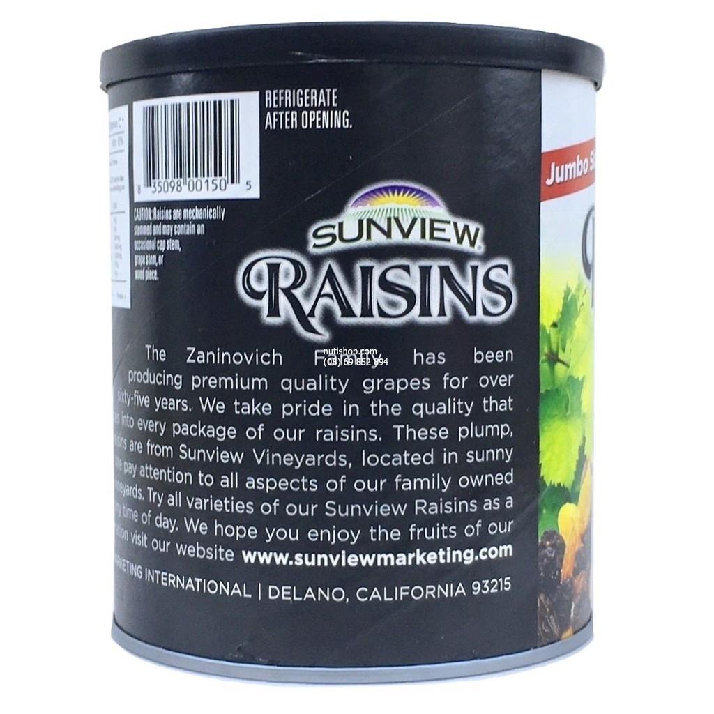 Nho khô không hạt vị thập cẩm Sunview Raisins Mỹ 425 g