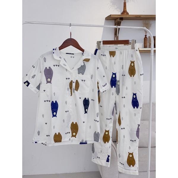 Mặc gì đẹp: Bộ mặc nhà pijama bộ thô tay cộc quần dài nhiều màu