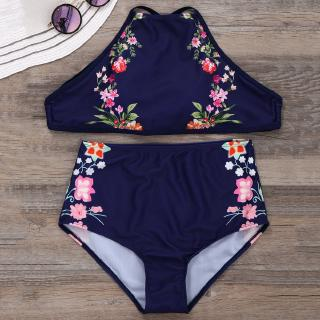 ⚡-YO-High Waist Straps Bikinis Sexy Floral Pattern Hollow Back Nylon+Spandex