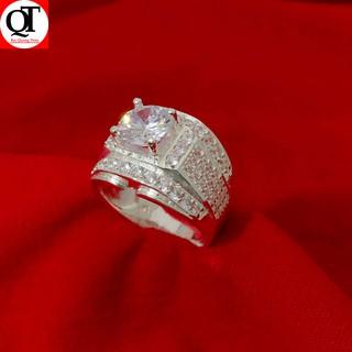 Nhẫn nam bạc ta gắn đá kim cương nhân tạo 6ly cao cấp trang sức Bạc Quang Thản -QTNA7 thumbnail