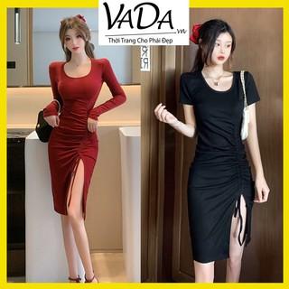 Đầm body tay dài và tay ngắn xẻ tà xinh yêu, đi dự tiệc, đi chơi dạo phố, đi bar sang chảnh - Thời trang VADA - DB686 thumbnail