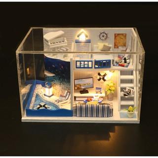Mô hình nhà búp bê gỗ – Biệt thự nhỏ phong cách Địa Trung Hải (bản thu gọn)
