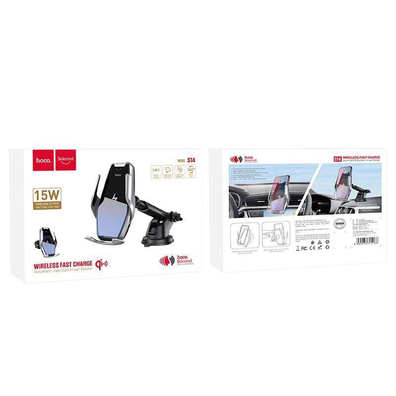 Giá đỡ kiêm sạc không dây Hoco S14 có cảm biến hồng ngoại QI chân gân kính chắc chắn