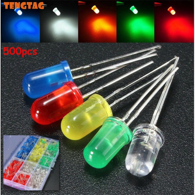 500Pcs 3mm LED Light White/Yellow/Red/Blue/Green Assortment Diodes DIY Kit