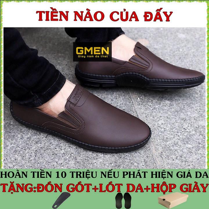 Giày lười nam chất liệu da bò mềm mại đế cao su siêu êm chân GM09