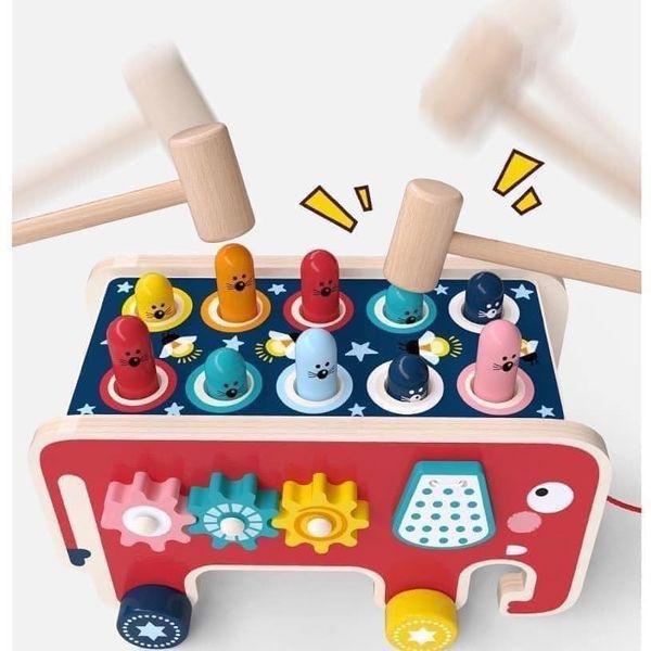 [Loại 1 - Nhập Khẩu] Bộ đồ chơi Đập chuột gỗ cho bé, Đồ chơi Hamster Rèn luyện trí thông...