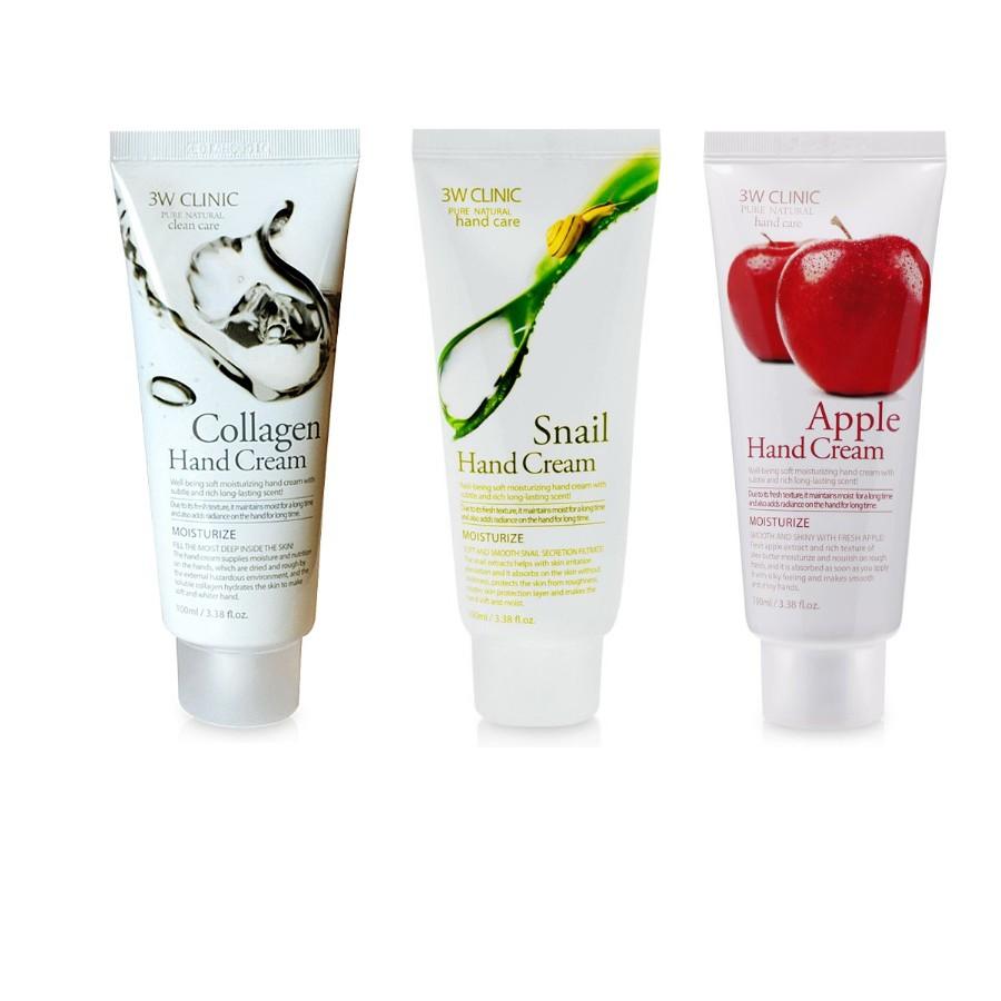 Combo bộ 3 Kem Dưỡng Da Tay 3w Clinic Hand Cream (Snail, Collagen, Apple)
