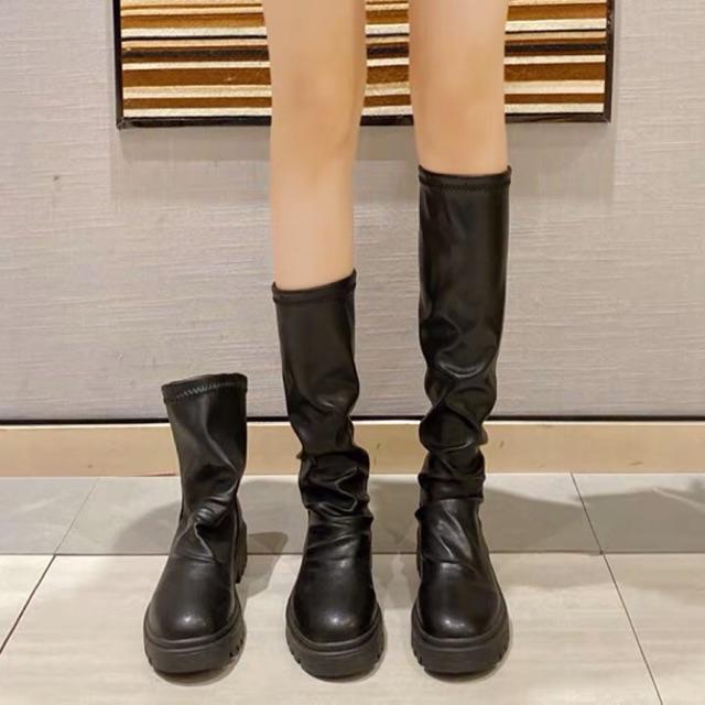 [Sẵn] Boots nữ Ulzzang cổ cao và cổ ngắn da nhăn mềm gót 4cm