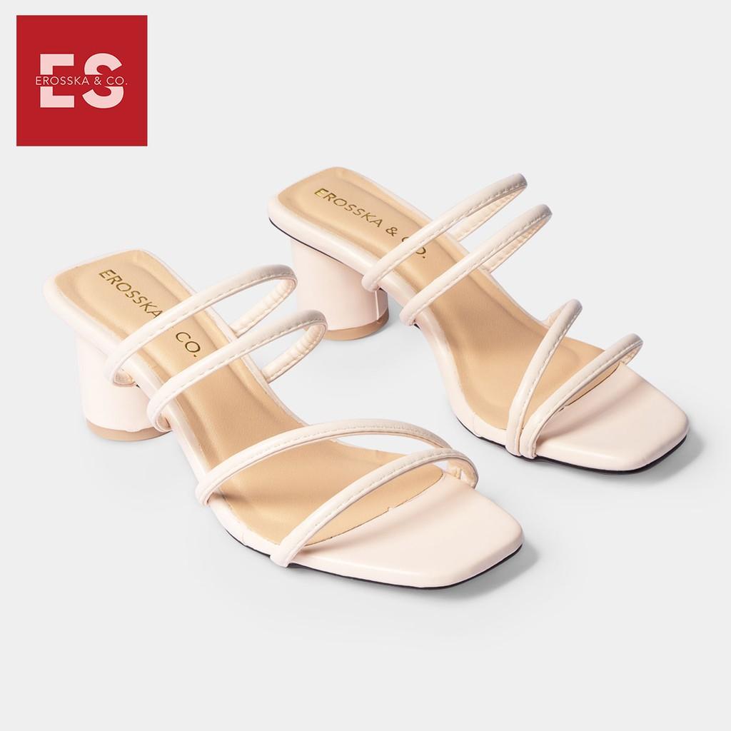 Dép cao gót Erosska thời trang mũi vuông phối dây quai mảnh cao 5cm màu kem _ EM038