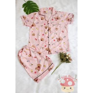 Bộ Đồ Ngủ Quần Đùi ,Áo Ngắn Vải Kate Thái Loại 1 – Gấu hồng
