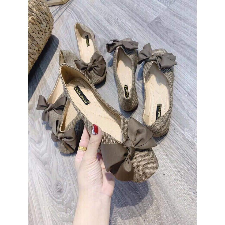 Giày bệt nữ thắt nơ siêu xinh, giày nữ xinh xắn