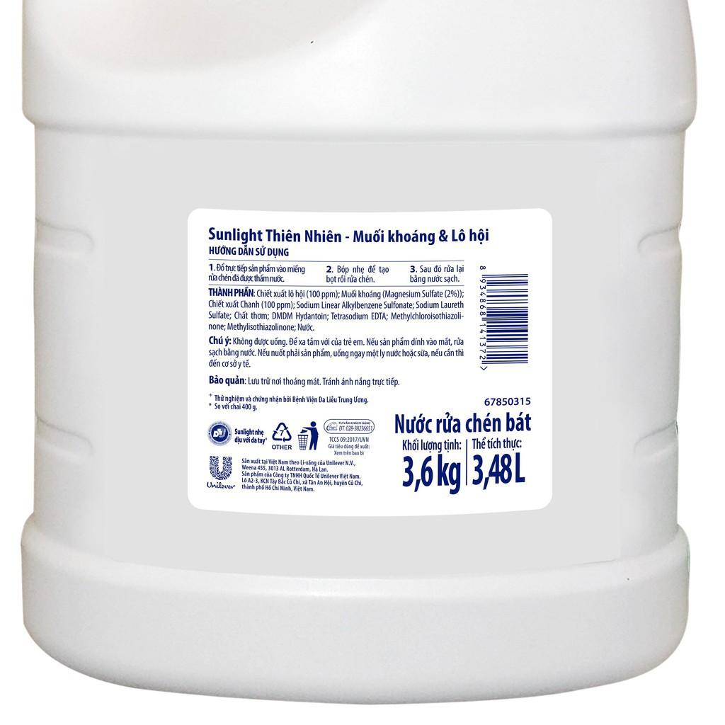 Nước rửa chén Sunlight Thiên Nhiên chai 3.6kg ( can)