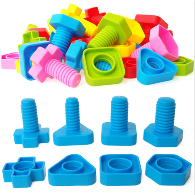 1 set Screw Building Blocks Insert Blocks Nut Shape Kids Educational Gift Toys