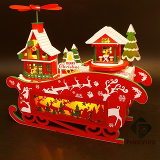 [Ready Stock] Fashion Cute Merry Christmas Design DIY Miniature Doll House with Furniture Accessory Toy