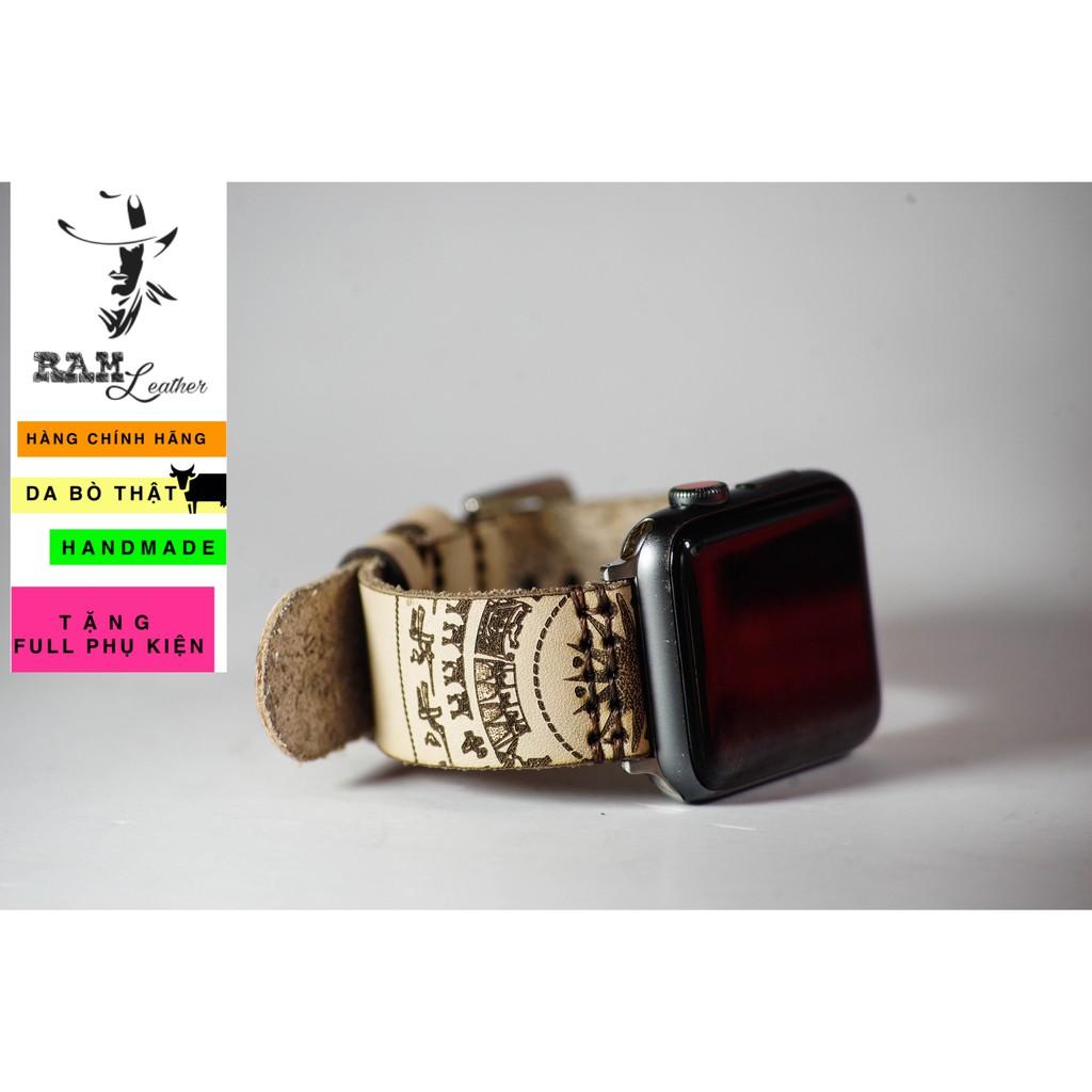 Dây đồng hồ cao cấp trống đồng da bò italia RAM Leather simple trắng - tặng khóa chốt và cây thay dây