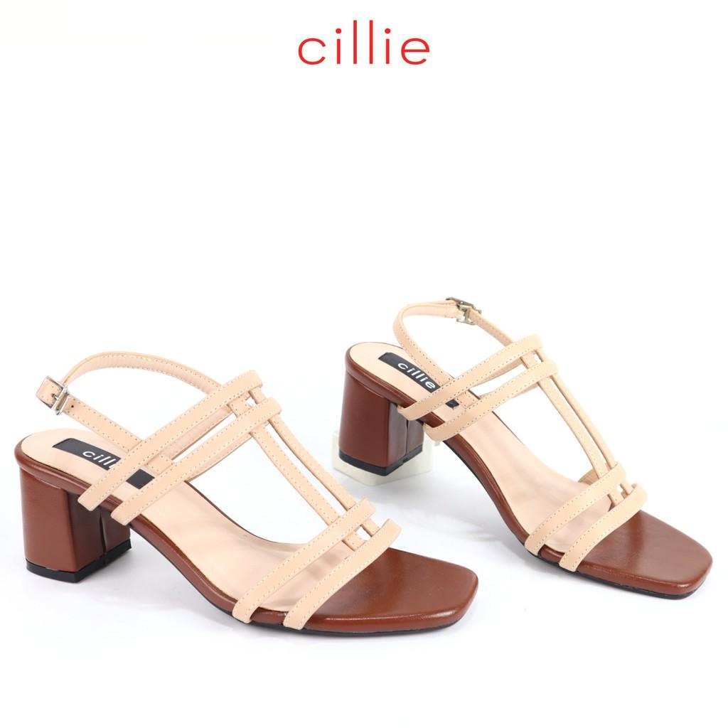 Giày sandal Cillie cao 5cm dây gót vuông 1112