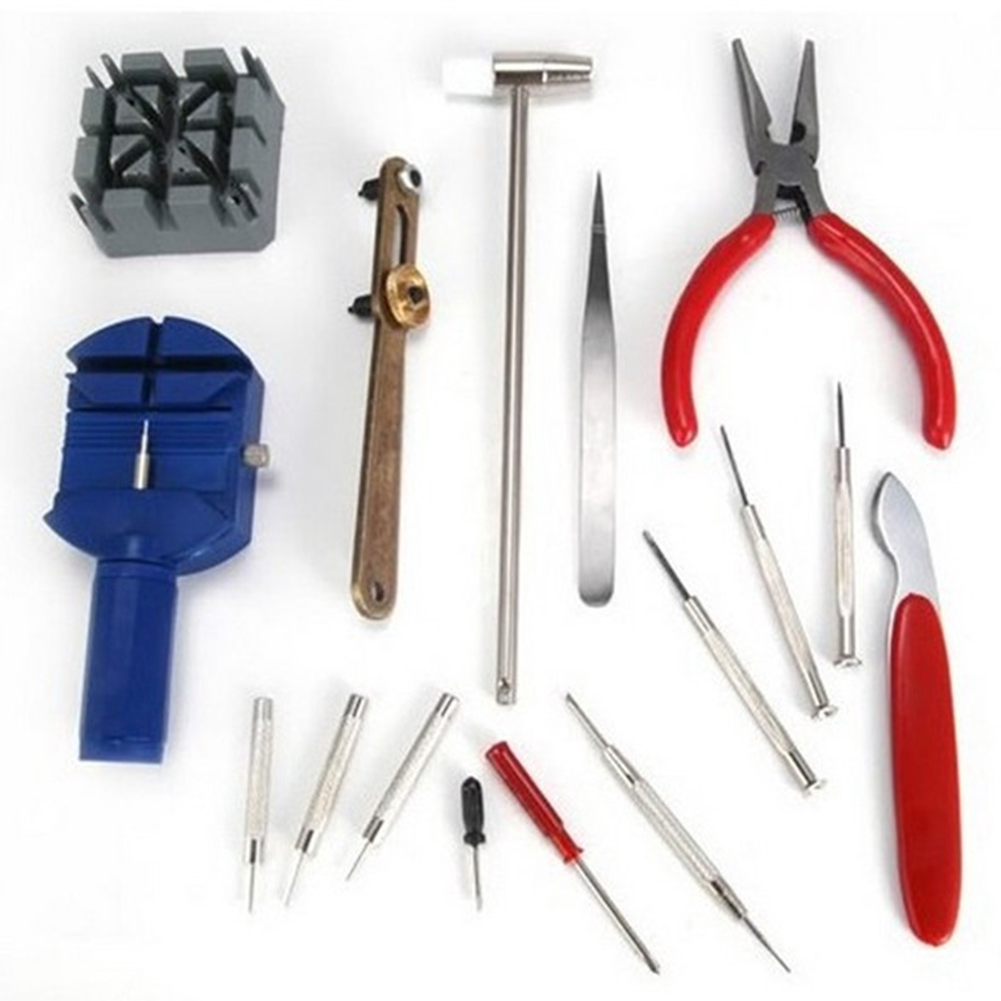 16Pcs Watch Back Opener Repair Tool Kit Band Pin Strap Link Remover Watchma