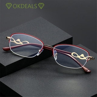 💎OKDEALS💎 Luxury Presbyopic Eyeglasses Radiation Protection Computer Goggles Anti Blue Light Reading Glasses Anti-UV Women Fashion Transparent Anti-fatigue Metal Frame Eyewear