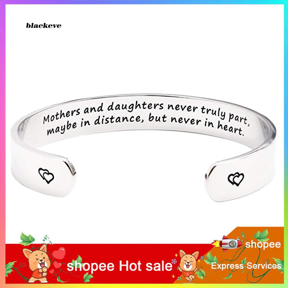 ZXC_Mothers and Daughters Carved Letter Open Bangle Cuff Bracelet