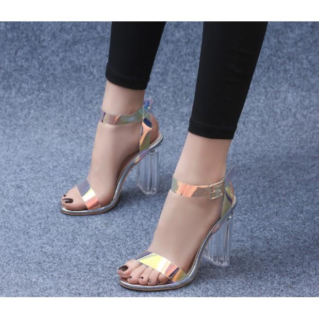 Giày cao gót quai trong ánh kim 9p gót trong siêu sang